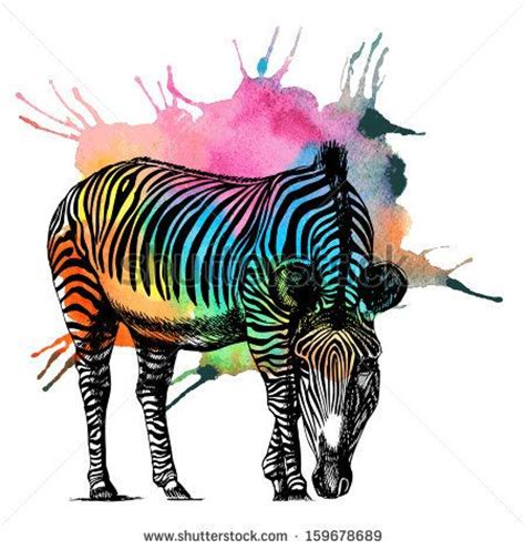 watercolor tattoo zebra watercolor rainbow zebra raster illustration by moopsi
