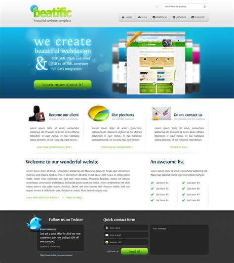 beatific beautiful website template 3 colors by