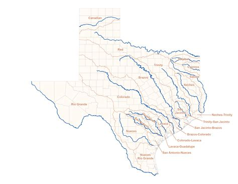 texas watershed map river map texas