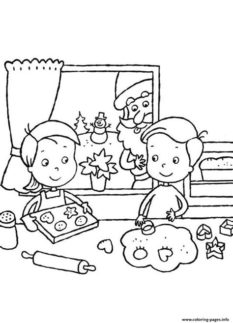 coloring page info kids making cookies for santa claus 14af coloring pages
