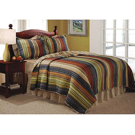 global trends madras stripe quilt set bedding walmart com