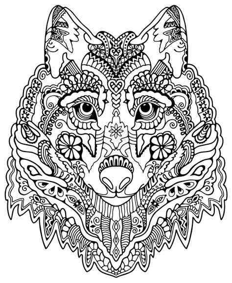 mandala coloring pages for adults animals awesome wolf from quot awesome animals quot dibujos