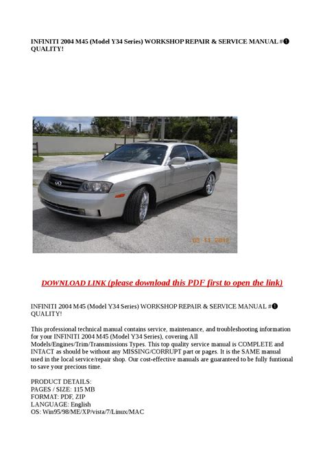 service manual owners manual 2004 infiniti m service manual how to remove on a 2004 infiniti