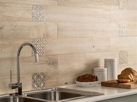 wood kitchen backsplash wood look tiles