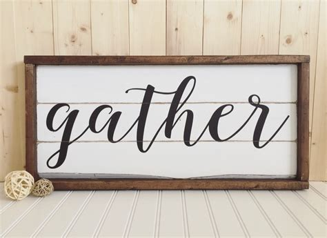 large wooden signs home decor gather wood sign framed rustic home decor wall