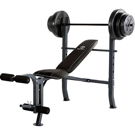 bench press standard marcy standard bench with 100 lb weight set md 2082w