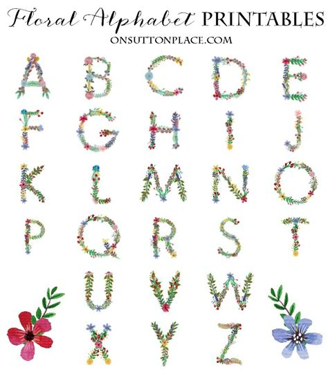 printable letters with flowers floral alphabet printables