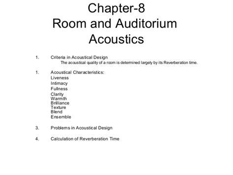 room acoustics design criteria determined according room and auditorium acoustics