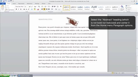 How To Format An Abstract Page In Apa Style Ms Word 2010 Windows Youtube Microsoft Word Apa Template