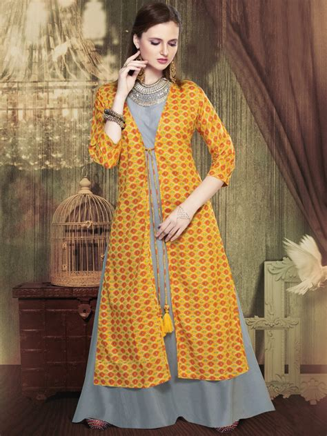 jacket pattern kurti images nature series grey yellow cotton kurti with jacket ar