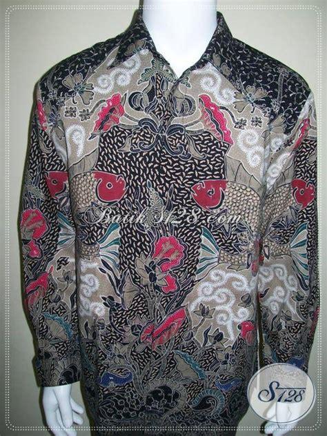 Kemeja Katun Wanita Batik Ruffles Unik Lengan Panjang Bpa24 baju batik lengan panjang pria furing unik motif ikan