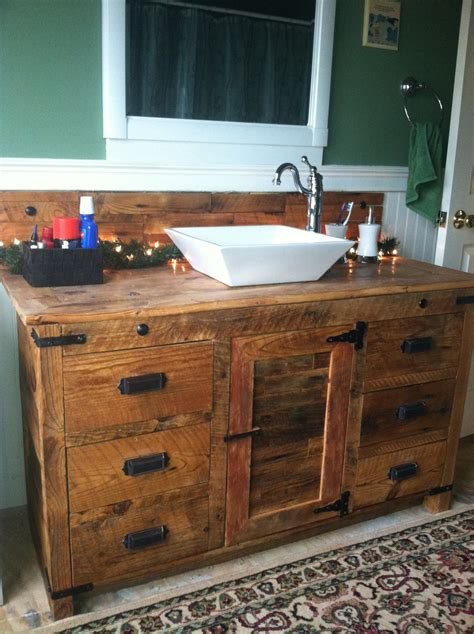 barnwood vanity with vessel sink rustic vanities