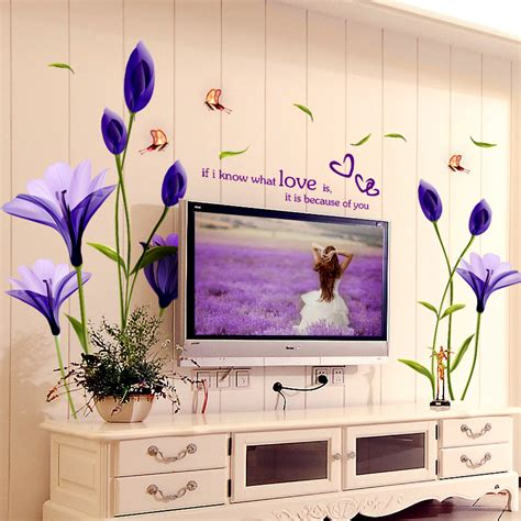 purple home decor aliexpress com buy beautiful flowers purple lilies wall