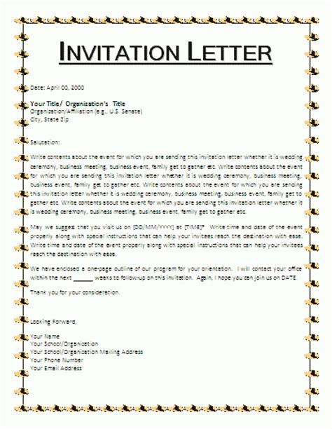 Official Letter Sle Invitation Formal Letter Of Invitation Templates Cloudinvitation