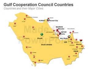 Gcc Countries Map Outline by Gulf Countries Council Map Powerpoint Bundle