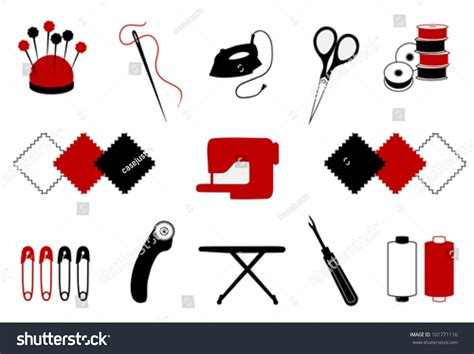 Patchwork Tools - vector quilt patchwork tools for diy crafts hobbies