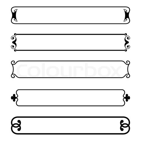 Victorian Home Plans by Set Of Simple Black Banners Border Frame Stock Vector