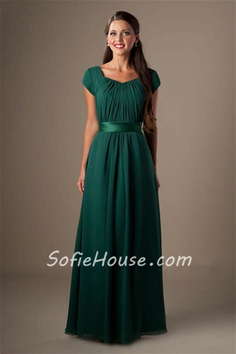 Sheath Cap Sleeved Dark Green Chiffon Ruched Modest Long
