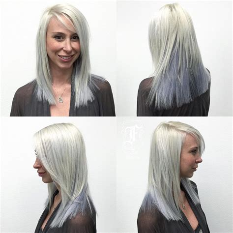 clean blunt cut hair styles medium length women s silver two toned layered cut with clean blunt