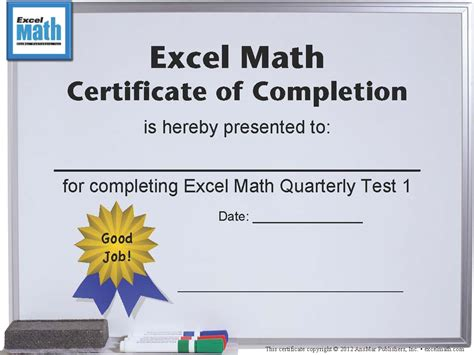 excel math printable math certificates and awards