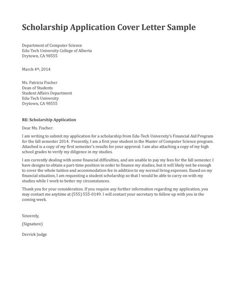 scholarship cover letter exle letter of application letter of application sle