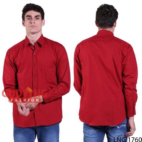 Kemeja Formal Katun Kemeja Lengan Panjang Kodekl004 kemeja formal kantor pria lengan panjang katun merah marun