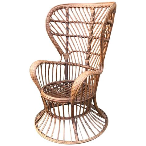 wicker wingback dining chair high wingback wicker chair by lio carminati designed ca