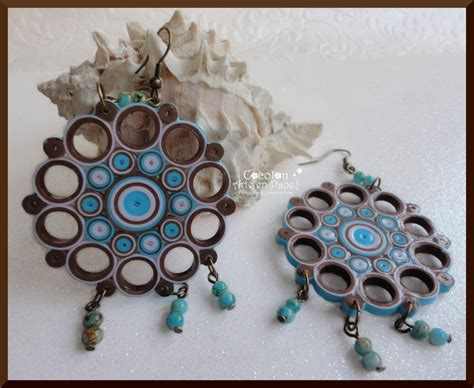 Paper Earrings - handmade paper quilled earrings paper jewelry by