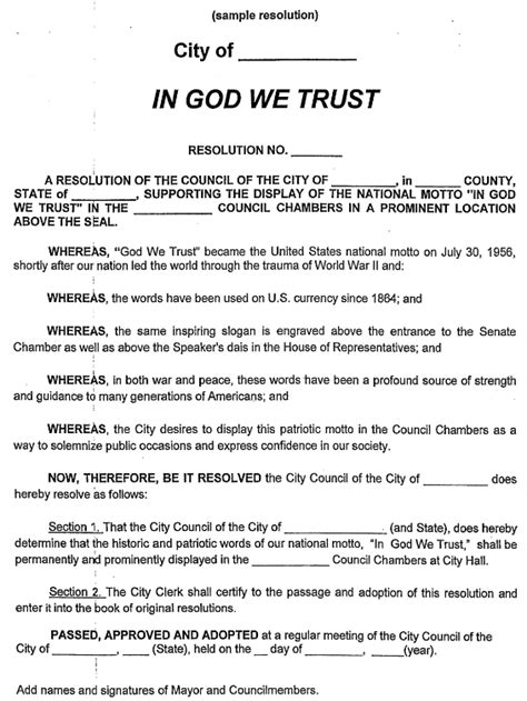 trustee resolution template in god we trust signs their way through missouri