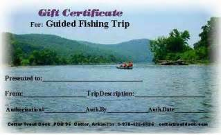 Fishing Gift Certificate Template by Arkansas Trout Fishing Gift Certificate For Our Guided
