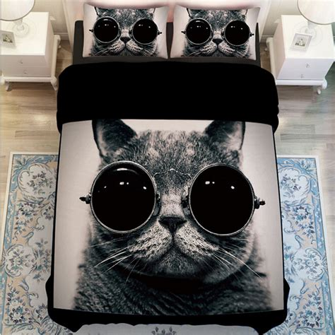 cat bed sheets black and white cat print bedding sets twin queen king size duvet cover set bed sheets
