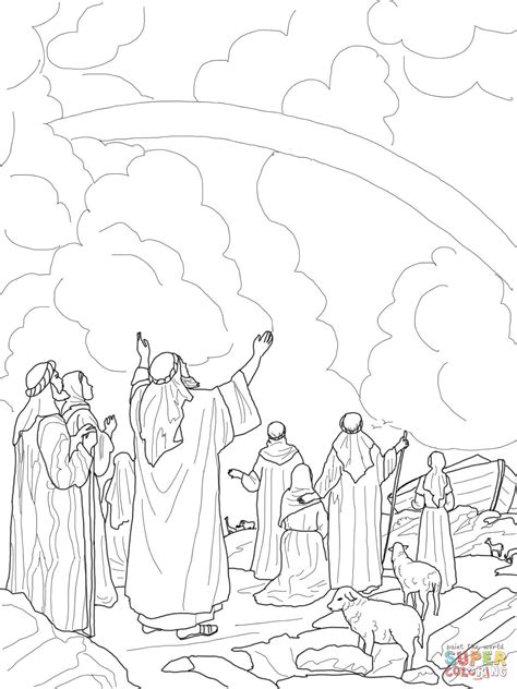 coloring page noah s ark and rainbow god s rainbow covenant with noah coloring page free