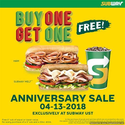 Buy 1 Get 1 Promo 6 In 1 Tempat Bumbu Dapur Berkualitas subway ust branch anniversary treat buy one get one promo on april 13 2018 only