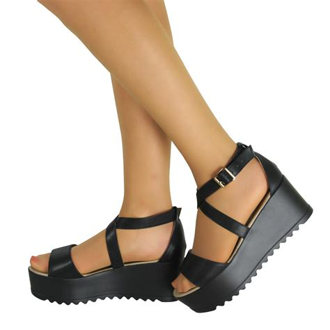 Wedges 2 Strappy womens cleated chunky sole strappy platform sandals wedges flatform shoes size ebay