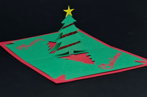 easy christmas tree pop up card template creative pop up