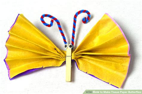 How To Make Butterflies Out Of Construction Paper - 3 ways to make tissue paper butterflies wikihow