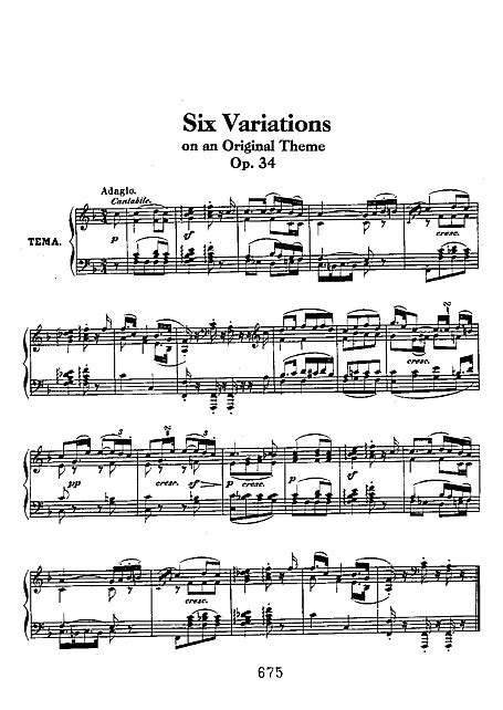 6 Variations on an Original Theme Piano - Partituras