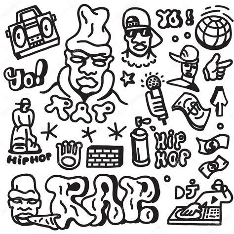 doodle hip hop rap hip hop doodles set stock vector 169 topform 61423795