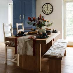 table and bench in country dining room home interiors