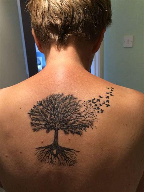 tree with birds tattoo oak tree and bird tattoos