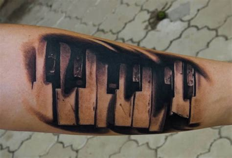 piano keys tattoo amazing piano 3d on arm