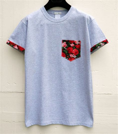 s roses floral pattern with sleeves grey pocket t