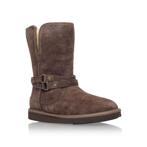 ugg palisade fur lined boots in brown lyst