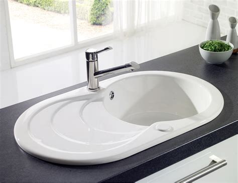 Drainer Ceramic Kitchen Sinks by Astracast Cascade White Or Black Ceramic Inset Sink 1 0 Bowl