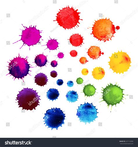 abstract flower made watercolor blobs colorful stock vector 227110390