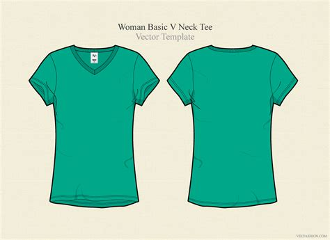 Woman Basic V Neck Tee Illustrations On Creative Market Teal T Shirt Template