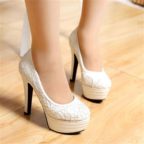 Wedding Shoes Chunky Heel by Lace Satin Chunky Heel Closed Toe With Lace Wedding