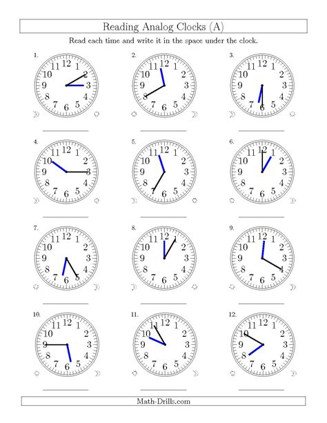 Analog Clock Practice Worksheets by Reading Time On 12 Hour Analog Clocks In 5 Minute