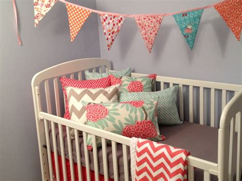 coral baby bedding coral and grey baby girl nursery crib bedding crib bedding pinterest bunting