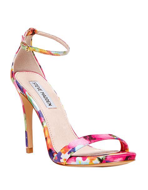 floral heeled sandals steve madden stecy sandals in floral floral multi lyst